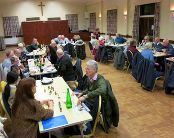 Members and guests enjoy the meal